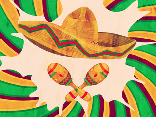 Grunge Sombrero and Maracas