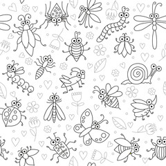Seamless background with funny cartoon insects