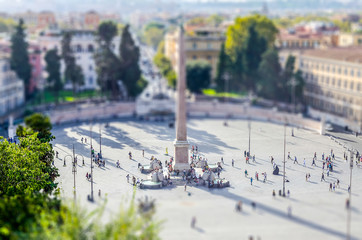 Fotomurales - Aerial view of Piazza del Popolo, Rome. Tilt-shift effect applied