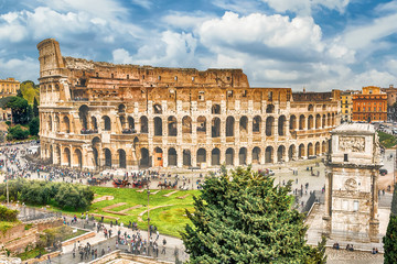 Wall Mural - Aerial view of the Colosseum and Arch of Constantine, Rome