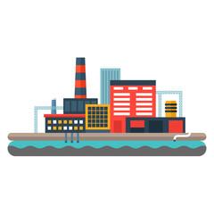 Factory concept illustration. Flat style vector illustration. Industrial landscape