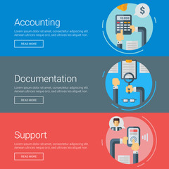 Accounting. Documentation. Support. Flat Design Vector Illustration Concepts for Web Banners and Promotional Materials