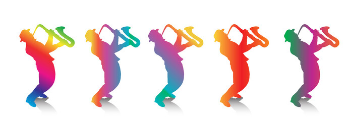 Jazz Musicians, Saxophonists. Five musicians Jazz players. Silhouettes isolated on white background, five figures. Rainbow color. Art, print, web, fashion, textile, craft, design.