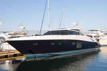 Black boat in the port