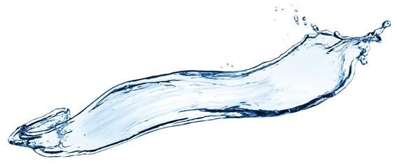 Blue water splashing on a white backdrop.