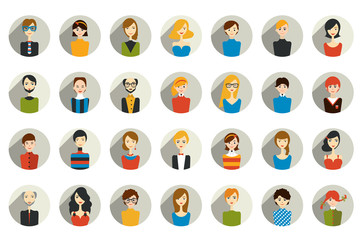 Big set of stylish people avatar head. Man, woman and child icons in flat design.
