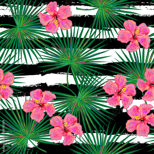 Seamless Tropical Fashion Pattern With Green Palm Leaves And Flowers Vector Background Perfect For Wallpapers