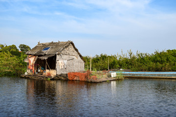 Floating village house near Siem Reap in Cambodia