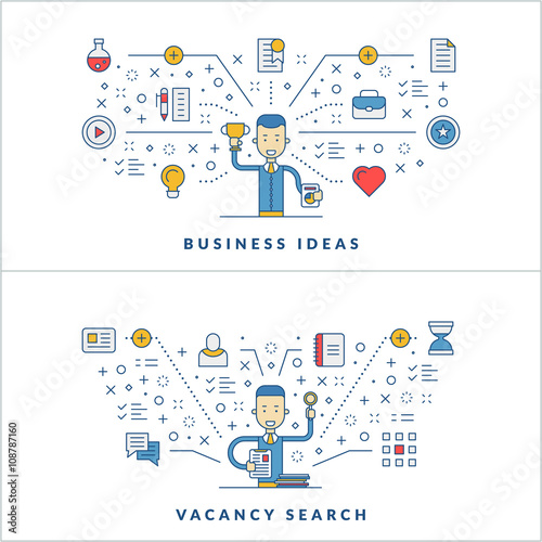 Business ideas. Vacancy search. Web design. Social media. Flat line ...
