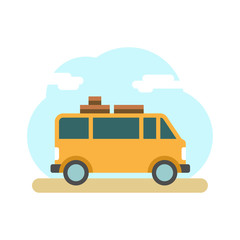 Traveler truck on the road. Outdoor journey camping traveling vacation. Travel van. Flat style vector illustration