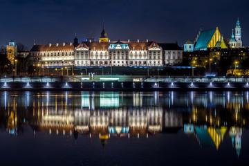 Obraz Warszawa nocą, Zamek Królewski - fototapety do salonu
