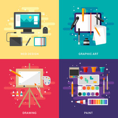 Set of Graphic Art Conceptual Illustrations. Web Design, Graphic Art, Drawing, Paint. Flat Style Vector Illustration