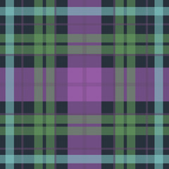 Vector seamless scottish tartan pattern in purple, blue, black, green. British or irish scottish celtic design for textile, fabric or for wrapping, backgrounds, wallpaper, websites