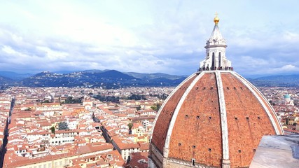 Cityscape and Top of the Dome in Florence, Italy.