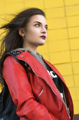 Portrait of a girl in a red jacket