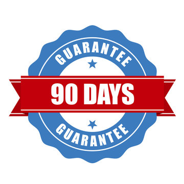 90 days guarantee stamp - warranty sign