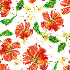 Seamless background pattern of red poppy wax painting with splashes