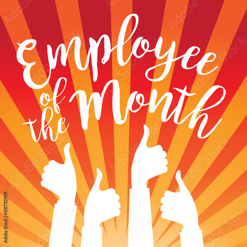 employee of the month thumbs up poster flat design eps 10 vector