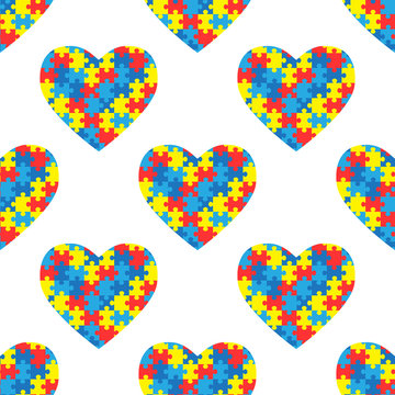 World autism awareness day. Seamless pattern with hearts. Colorful puzzles vector background. Symbol of autism. Medical flat illustration. Health care