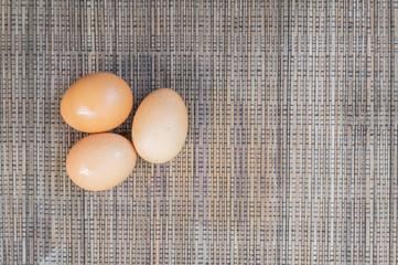 Egg on Brown Table Cloth