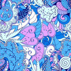 Tracery seamless calming pattern. Mehendi design. Ethnic violet blue harmonious doodle texture. Indifferent discreet. Curved doodling mehndi motif. Vector.