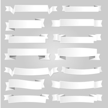 White Vector Paper Banners and Ribbons with Shadow
