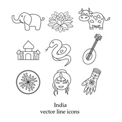 India in the collection line of icons
