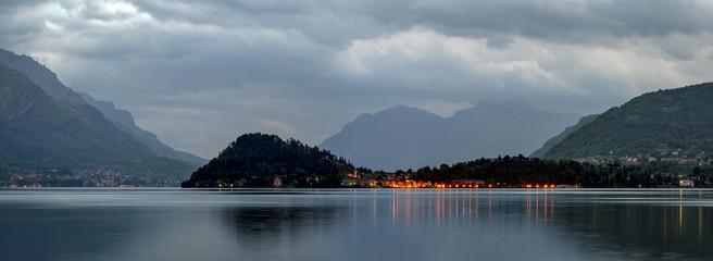 Lago di Como high definition landscape with Bellagio at dawn