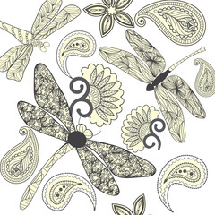 Floral Paisley and dragonflies in black and white