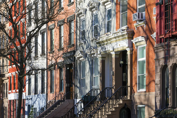 Buildings along Tompkins Square Park in New York City