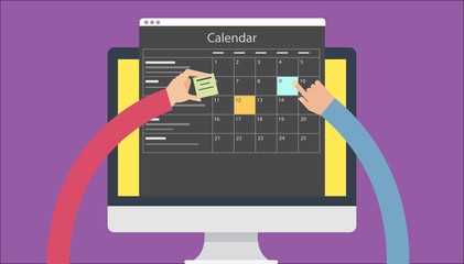 Calender Planner Organization Management Remind flat design concept. Vector illustrations