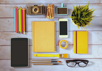 top view photo school and business supplies
