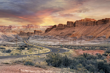 Poster Natural Park scenic road in Capitol Reef National Park at sunset