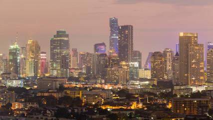 City office building light night view