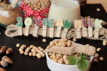 Soy beans milk with beans.