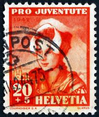 Postage stamp Switzerland 1942 Girl of Glarus