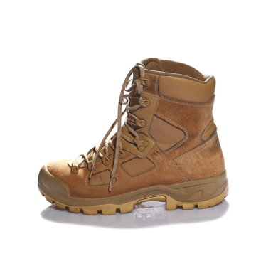 Combat boot single viewed from side isolated on white background
