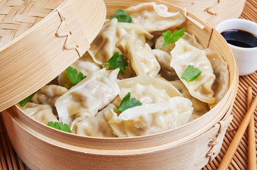 Steamed Asian dumplings. Dumplings with fillings