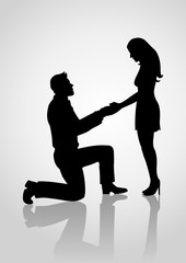 Silhouette of a proposing man