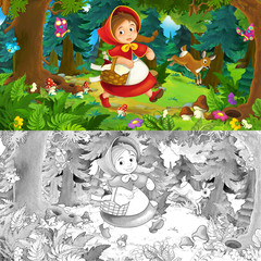 Cartoon scene on a happy girl inside colorful forest - with coloring page - illustration for children