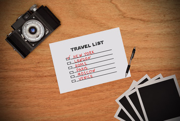 paper with drawing travel list