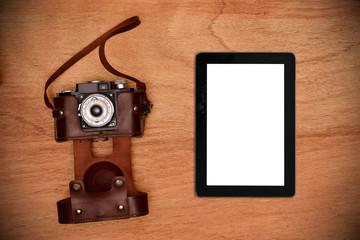 Vintage camera and tablet