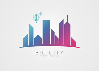 Big city symbol. Modern colorful style with hot air balloon