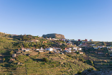 The mountain village Chipude situated In the highlands of La Gomera on the Canary archipelago. In the background the famous mesa La Fortaleza, one of the big landmarks on the Island