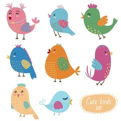 Cute birds set. Vector collection