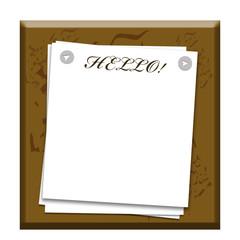 Листы бумаги прикрепленные кнопками с надписью Hello