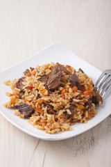 Rice with meat and carrots