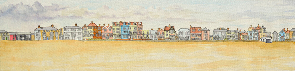 Aldeburgh seafront panorama Ink and Watercolour painting