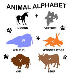animal silhouettes - animal alphabet