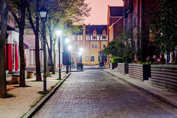 English style street at night in Thames Town